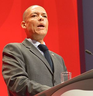 Clive Lewis (politician) - Lewis giving his Shadow Secretary of State for Defence speech at the 2016 Labour Party Conference