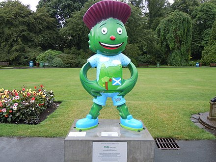 Mascot sculpture in the Glasgow Botanic Gardens Clyde (Mascot).jpg
