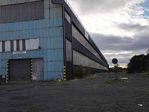Clydebridge Steelworks - external view of largest existing building, 2016