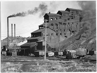 Madrid, New Mexico - Anthracite coal breaker and power house buildings, Madrid, circa 1935. Anthracite coal was preferred for passenger trains, as it burned cleaner.