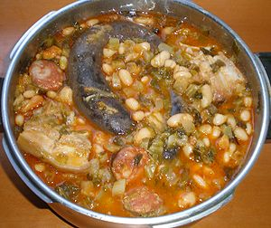 Stew - Cocido montañés or Highlander stew, a common Cantabrian dish