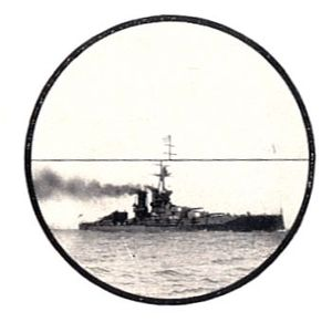Coincidence rangefinder - Eyepiece image of a naval rangefinder, showing the displaced image when not yet adjusted for range