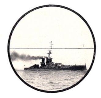 Coincidence rangefinder - Eyepiece image of a naval rangefinder, showing the displaced image when not yet adjusted for range