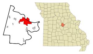 Cole County Missouri Incorporated and Unincorporated areas Jefferson City Highlighted.svg