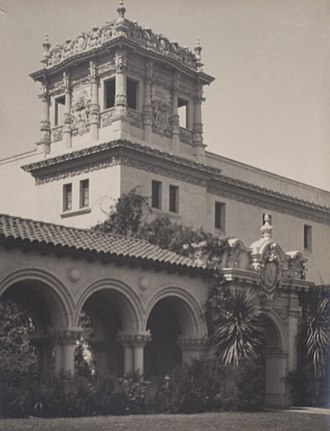 Francis Bruguière - Colonade to Foreign Arts Building at the 1915 Panama–California Exposition, taken by Bruguière