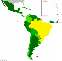 Map of North, Central and South America indicating CELAC members:   Member countries   Former members