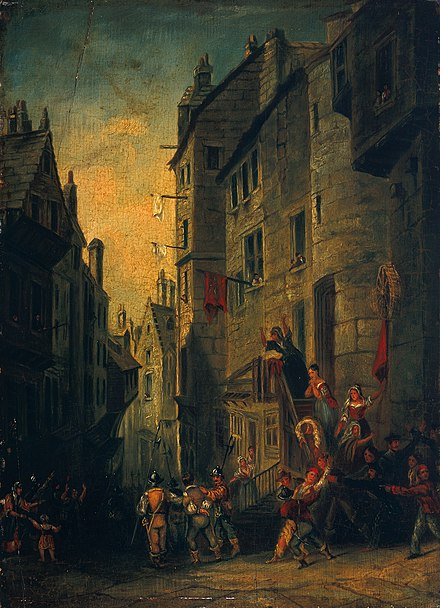 A painting showing the last Covenanter martyr James Renwick being taken to execution in 1688 Condemned Covenanters on Their Way to Execution in the West Bow, Edinburgh.jpg