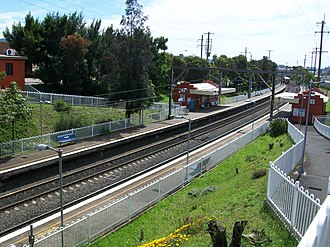 Coniston railway station, New South Wales - Northbound view from Bridge Street in January 2008