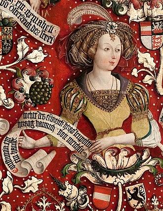 Constance of Austria, Margravine of Meissen - Portrait in the Babenberg pedigree, Klosterneuburg Monastery