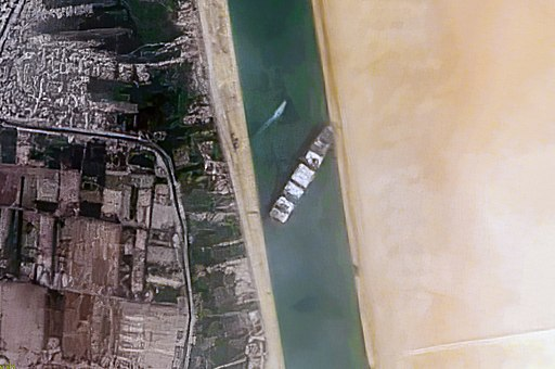 Container Ship 'Ever Given' stuck in the Suez Canal, Egypt - March 24th, 2021 cropped