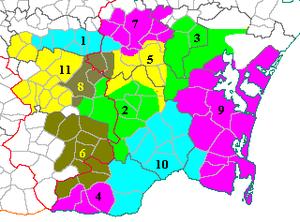 Corbières AOC - Map of the terroirs of Corbières.