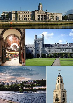 From top, left to right: City Hall at night, Shandon Steeple, the English Market, City Gaol, Blackrock Castle, Lewis Glucksman Gallery, Main Quadrangle in UCC.