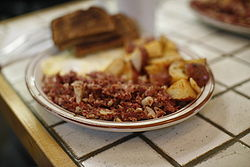 Corned beef hash at the Creamery (Nina's breakfast).jpg