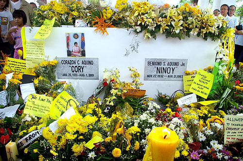 Former Philippine President Corazon Aquino's grave is next to her husband Ninoy Aquino's at the Manila Memorial Park in Paranaque, Philippines. Cory aquino wiki.JPG