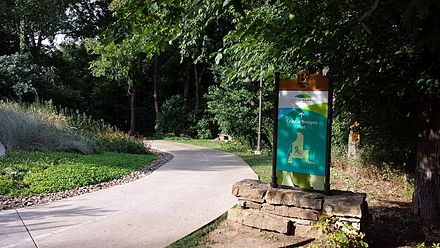 Crystal Bridges Trail crosses through Compton Gardens between downtown and the museum Crystal Bridges Trail.jpg