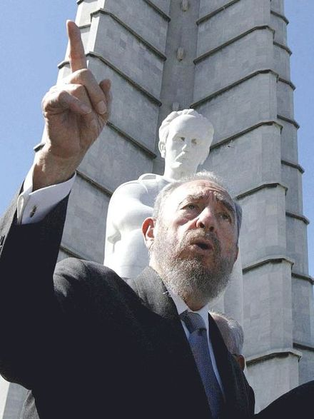 Castro in front of a Havana statue of Cuban national hero Jose Marti in 2003 Cuba.FidelCastro.02.jpg