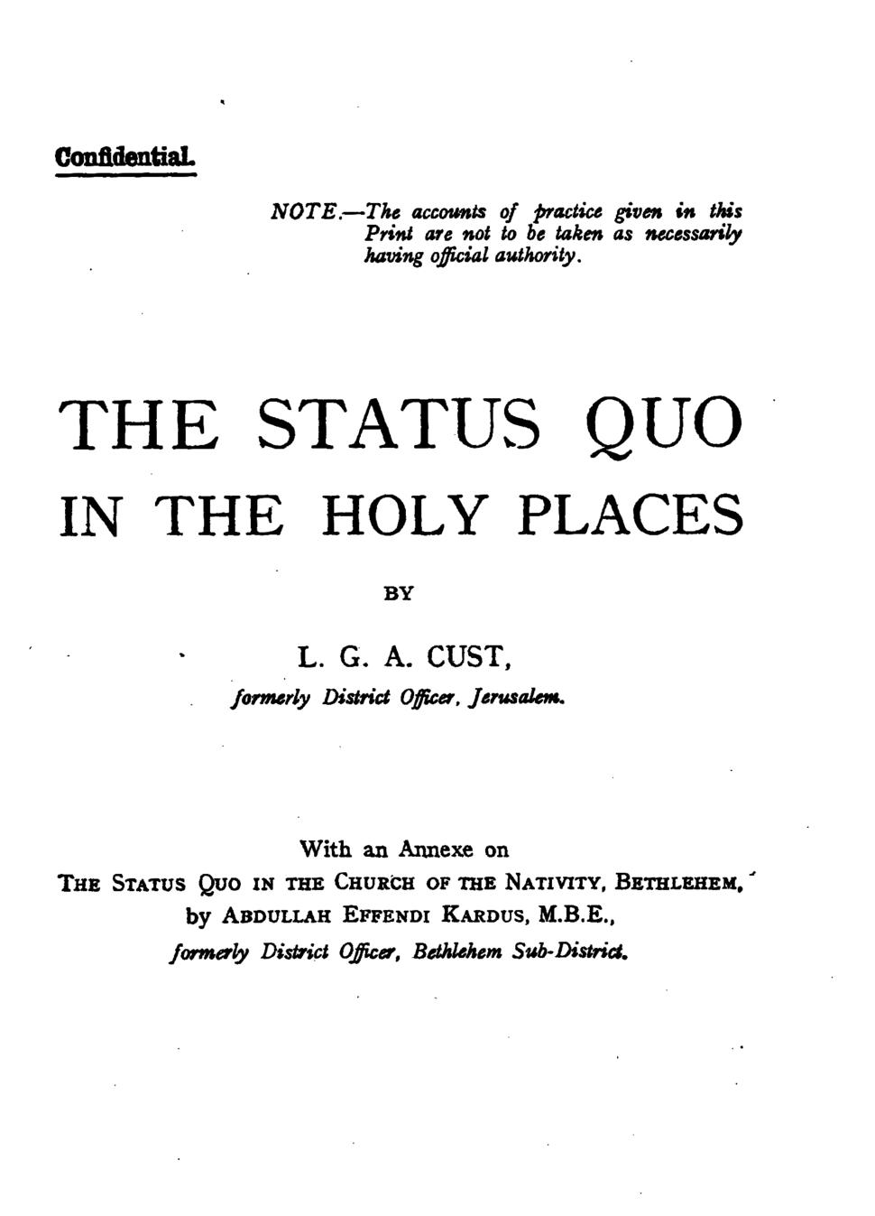 Cust Status quo