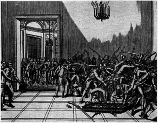 Day of Daggers Royalist action during the French Revolution on 28 February 1791, with noblemen wielding daggers coming to king Louis XVIs defence.
