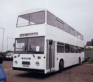 East Lancashire Coachbuilders - 1987 high capacity East Lancs body on Scania K92 chassis: one of the last built to this flat-fronted style