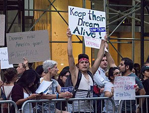 Deferred Action for Childhood Arrivals - Protesters outside Trump Tower in New York City, September 5, 2017