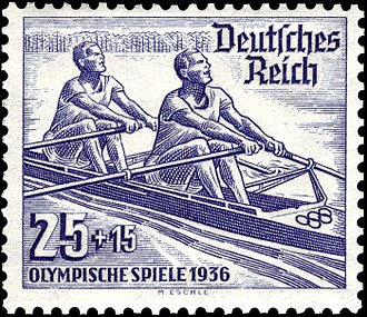 Rowing at the 1936 Summer Olympics - Rowing at the 1936 Summer Olympics on a German stamp