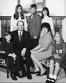 Dallin H. Oaks, wife, and five children sitting