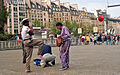 Dancers warming up in the Beaubourg forecourt, Paris 1987.jpg