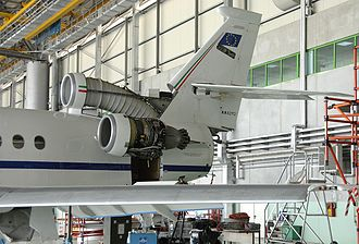 Garrett TFE731 - Honeywell TFE731 and S-duct intake of a Dassault Falcon 900EX exposed during maintenance