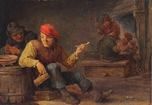 David Teniers (II) - Boors drinking and smoking in an inn
