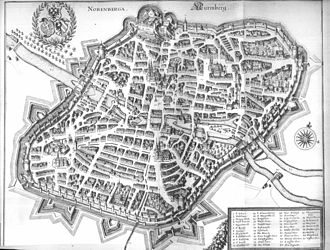 Nuremberg - Map of Nuremberg, 1648