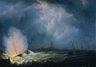 Jan van Speyk - Gunboat no. 2 explodes before Antwerp. Martinus Schouman, 1832