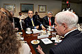 Defense.gov News Photo 100727-D-9880W-028 - Israeli Minister of Defense Ehud Barak 3rd from left meets with Secretary of Defense Robert M. Gates right in the Pentagon on July 27 2010. Barak.jpg