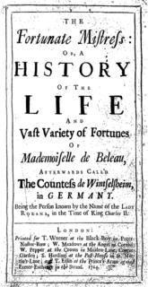<i>Roxana: The Fortunate Mistress</i> Novel by Daniel Defoe published in 1724