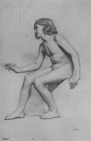 Э. Дега. Сидящий обнаженный мальчик. 1856.