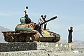Destroyed T-55A tank adapted into a tourist attraction in Afghanistan.jpg