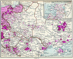 Bukovina Germans - Map of German minorities in Eastern Europe during the interwar period, also highlighting German settlements in the Kingdom of Romania, including Bukovina.
