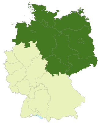 Regionalliga Nord - Map of Germany: Position of the Regionalliga Nord highlighted