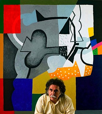 Dia Azzawi - Dia-Al-Azzawi, in front of one of his artworks