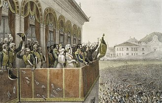 Paço Imperial - Prince Regent Pedro of Braganza greets people on the balcony of the Paço Imperial