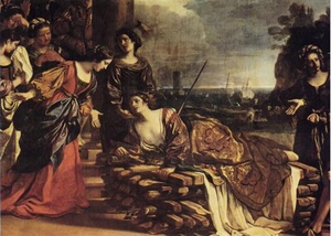 Anna Perenna - Suicide of Dido, a representation of Dido being rescued by her sister Anna, later identified with the Roman divinity Anna Perenna, oil on canvas by Guercino, 1625, Rome, Galleria Spada.