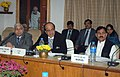 Dinesh Trivedi addressing a meeting of General Managers of all Zonal Railways, in New Delhi. The Minister of State for Railways, Shri Bharatsinh Solanki and the Chairman, Railway Board, Shri Vinay Mittal are also seen.jpg
