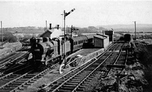 Distington railway station - Distington station, with train 1951