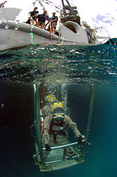 Two divers wearing lightweight demand helmets stand back-to-back on an underwater platform holding on to the railings. The photo also shows the support vessel above the surface in the background.