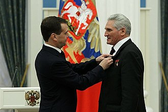 Boris Volynov - Russian president Dmitri Medvedev awards Volynov with the Order of Friendship on 12 April 2011 (Cosmonautics Day)