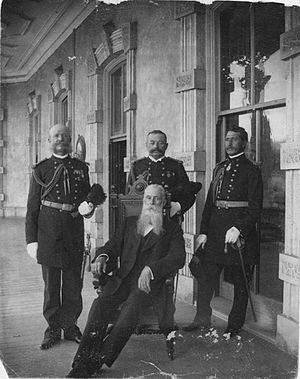 Curtis P. Iaukea - Major Iaukea (right) with other officers and President Sanford B. Dole