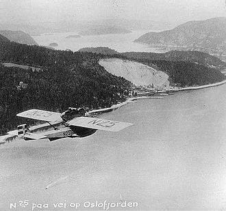 Dornier Do J - Amundsen's Dornier Do J flying over the Oslofjord, 1925