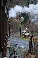 Down Talyllyn Railway train passing Quarry Siding - geograph.org.uk - 1657402.jpg