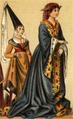Dräkt, Burgundisk adelsjungfru, Nordisk familjebok.png