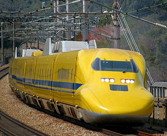 """Doctor Yellow - JR Central's Class 923 """"Doctor Yellow"""" set T4 on the Sanyo Shinkansen, March 2010"""
