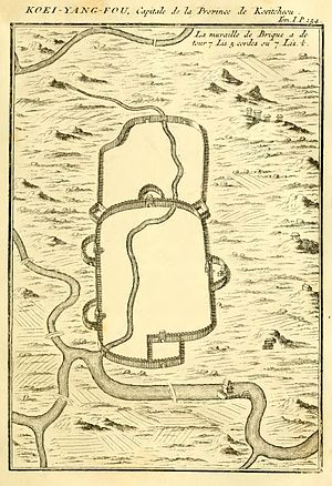 "Guiyang - The map of ""Koei-yang-fou"" in Du Halde's 1736 Description of China."